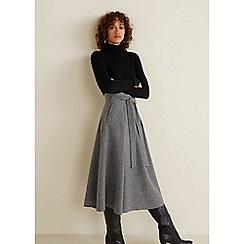 Mango - Grey Wool Blend 'Lanitas' Midi Skirt