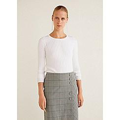 Mango - Grey Prince of Wales Check Print 'Doors' Midi Skirt