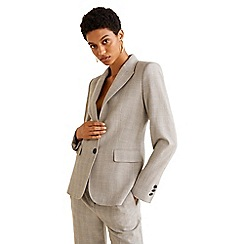 Mango - Grey and cream checked 'Davinci' structured blazer