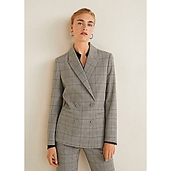 Mango - Grey Prince of Wales Check Print 'Doors' Structured Blazer