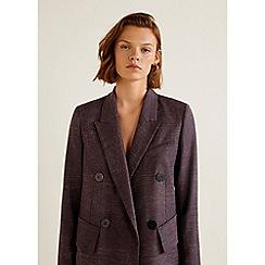 Mango - Purple Flecked Wool Blend 'Sequl' Suit Blazer