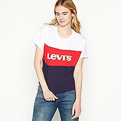 Levi's - Navy Colour Block Logo Cotton T-Shirt