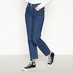 Levi's - Blue Mid Wash '501 Crop' Straight Leg Jeans