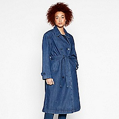 Levi's - Blue Belted Denim Cotton Trench Coat