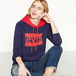 Levi's - Blue Graphic Logo Print Cotton Hoodie