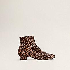 Mango - Brown Bovine Leather Leopard Print 'Chloe' Ankle Boots