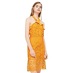 Mango - Orange 'Port' guipure lace dress