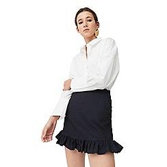 Mango - Blue 'Cola2' ruffled skirt