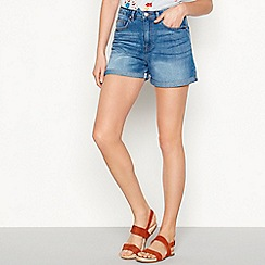 Noisy May - Blue mid wash cotton regular fit denim shorts