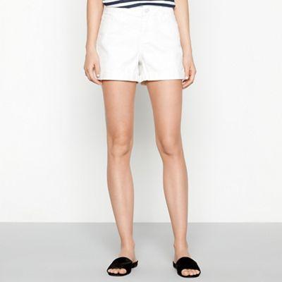 7f16cdb114 Noisy may White cotton blend 'Lucy' regular fit denim shorts | Debenhams