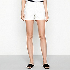 Noisy May - White cotton blend 'Lucy' regular fit denim shorts