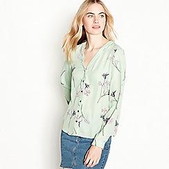 Vero Moda - Green floral print long sleeve button fastening shirt