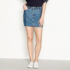 Vero Moda - Blue pure cotton frayed hem mini denim skirt
