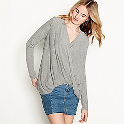 Vero Moda - Grey long sleeve V-neck wrap front jumper