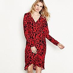 Vero Moda - Red leopard print chiffon 'Savannah' V-neck long sleeve high low wrap dress