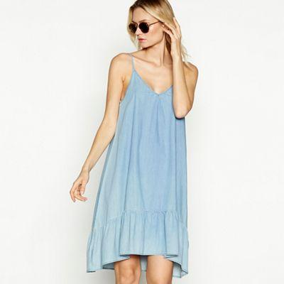 Vero Moda Light blue denim \'Judy\' V-neck strapless midi dress ...
