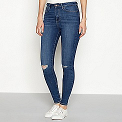 Vero Moda - Mid blue mid wash cotton blend 'Sophia' slim fit skinny jeans