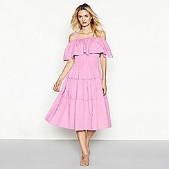 Vero Moda - Pink ruffle square neck cold shoulder midi length tiered dress