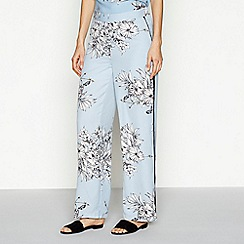 Vero Moda - Blue floral print loose fit wide leg trousers