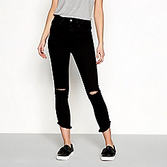 Noisy may - Black high waist ripped ankle grazer skinny jeans