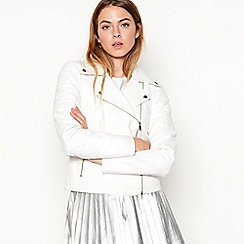 Noisy may - White 'Rebel' leatherette biker jacket