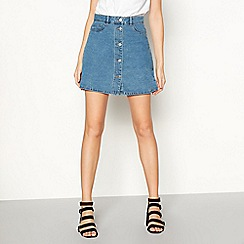 Noisy may - Blue 'Sunny' button denim skirt