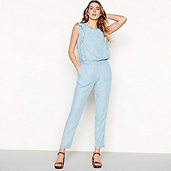 Noisy may - Blue denim round neck full length jumpsuit