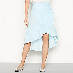Noisy may - Blue stripe print cotton frill midi wrap skirt