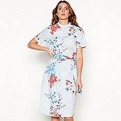 Noisy may - Blue floral stripe print cotton short sleeve below the knee shirt dress