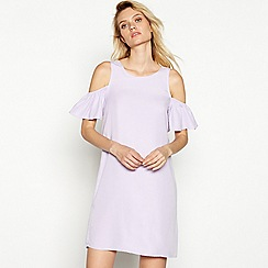Noisy May - Lilac 'Haylie' round neck cold shoulder mini dress