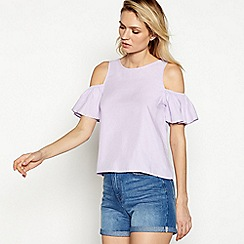Noisy May - Lilac ruffle 'Haylie' cold shoulder top
