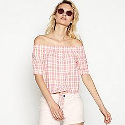 Noisy May - Pink check print tie front cotton Bardot neck short sleeve top
