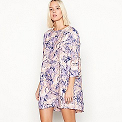 Noisy may - Lilac magic eye print 3/4 length sleeve mini dress