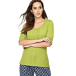 Weird Fish - Light green pleated front scoop neck top