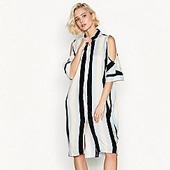 Simple Stories - Blue stripe 'Tuilleries' cold shoulder midi shirt dress