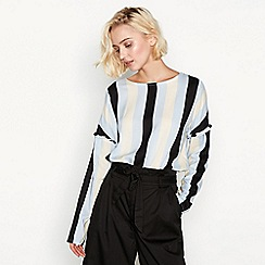 Simple Stories - Blue 'Seine' stripe frill sleeve top