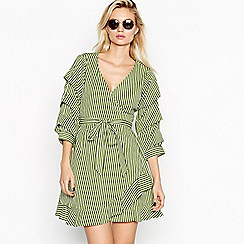Vila - Green striped 'Picana' V-neck mini wrap dress