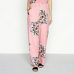 Vila - Pink floral print loose fit wide leg trousers