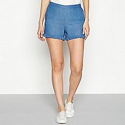 Vila - Blue ruffle trim cotton shorts