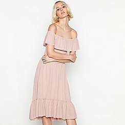 Vila - Natural shirred Bardot neck high low dress