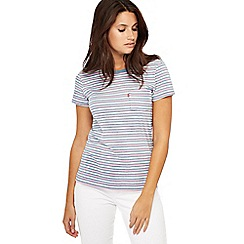 Levi's - Dark purple stripe print cotton t-shirt