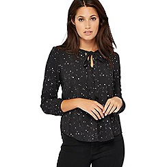 Levi's - Black star print tie neck blouse