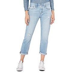 Levi's - Blue distressed light wash '501 Taper' jeans
