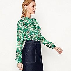 Moves - Green 'Sade' long sleeve floral print blouse