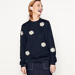 Moves - Navy 'Varis' floral embroidered sweatshirt