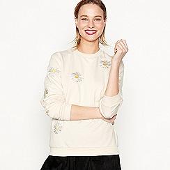 Moves - Natural 'Varis' floral embroidered sweatshirt