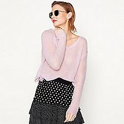 Moves - Mauve 'Nilly' V-neck knit jumper