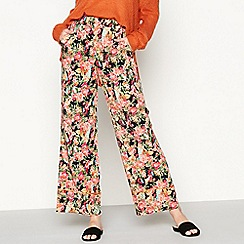 Moves - Black 'Ranya' floral print casual trousers