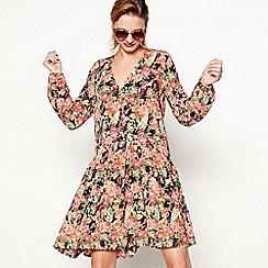 Moves - Black 'Darcila' floral print long sleeve smock dress