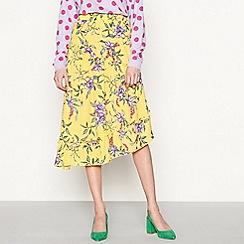 Moves - Gold 'Akia' floral print asymmetric midi skirt